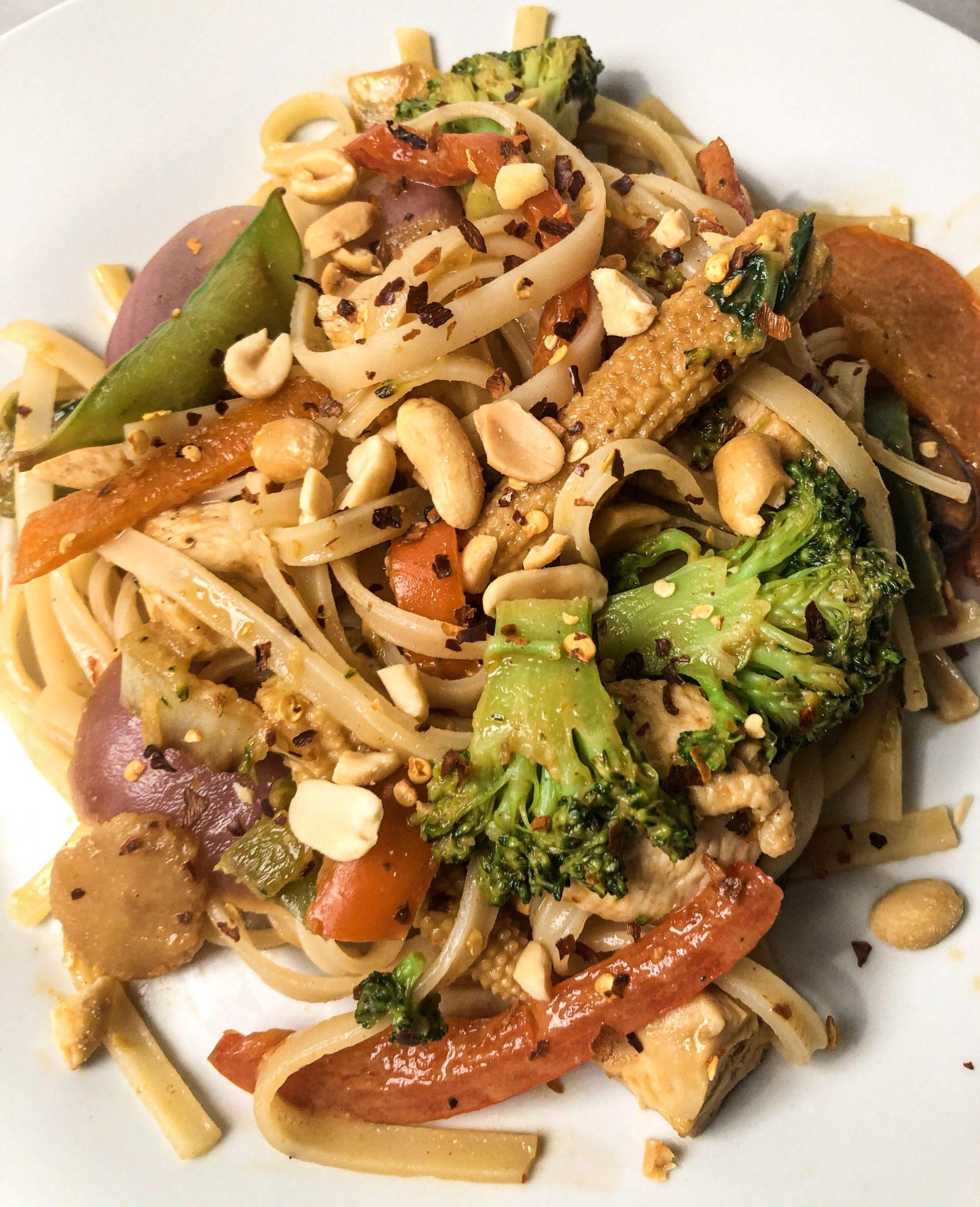 easy chicken pad thai  dev's dish